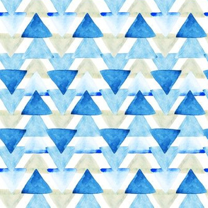 Blue Watercolor Triangles // small