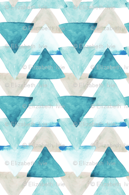 Teal Watercolor Triangles