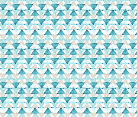 Teal Watercolor Triangles  fabric by ivieclothco on Spoonflower - custom fabric