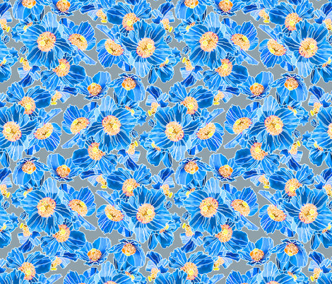 Himalayan Poppies Natural fabric by chantal_pare on Spoonflower - custom fabric