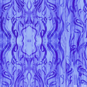 Hand-Painted Blue Damask