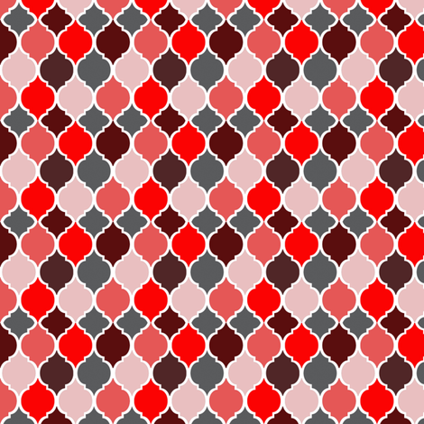 Moroccan Tiles Autumn Reds fabric by janinez on Spoonflower - custom fabric