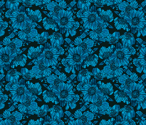 Himalayan Poppies Teal Dark fabric by chantal_pare on Spoonflower - custom fabric