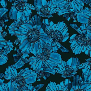 Himalayan Poppies Teal Dark