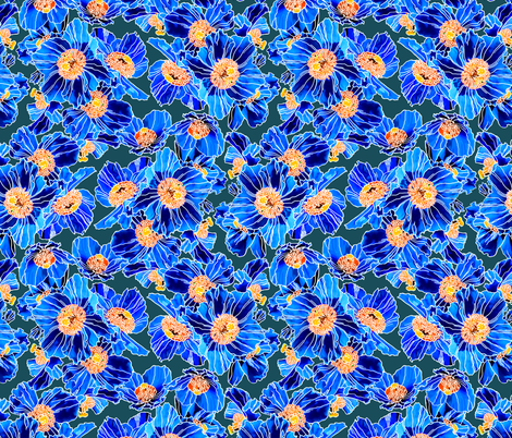 Himalayan Poppies Cobalt Blue fabric by chantal_pare on Spoonflower - custom fabric