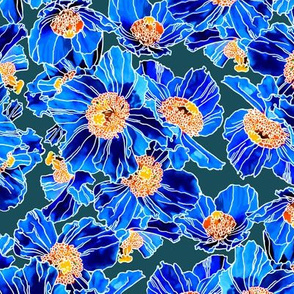 Himalayan Poppies Cobalt Blue