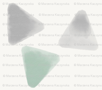 Watercolor triangles - mint and grey, geometric || by sunny afternoon