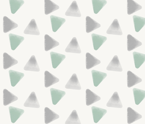 Watercolor triangles - mint and grey, geometric || by sunny afternoon fabric by sunny_afternoon on Spoonflower - custom fabric