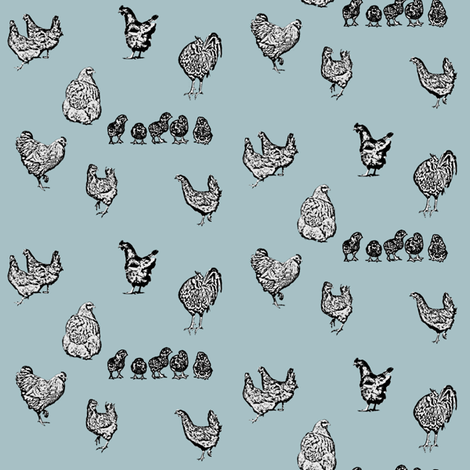 Drawn Chickens Blue fabric by janinez on Spoonflower - custom fabric