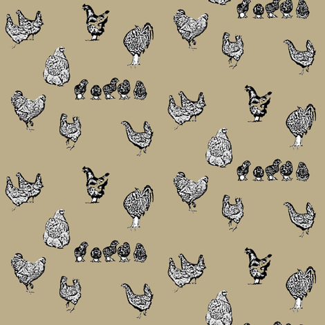 Drawn Chickens Brown Cream fabric by janinez on Spoonflower - custom fabric