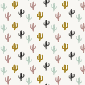 Cacti watercolor - mint black mustard, geometric, gender neutral, modern baby || by sunny afternoon