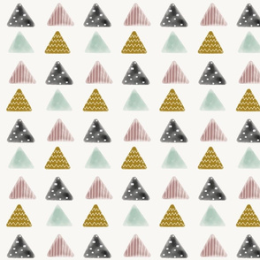 Triangles - watercolor geometric mauve mint mustard black pastel || by sunny afternoon