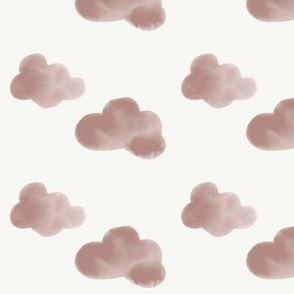Watercolor clouds - mauve watercolor pink baby girl clouds pastel || by sunny afternoon