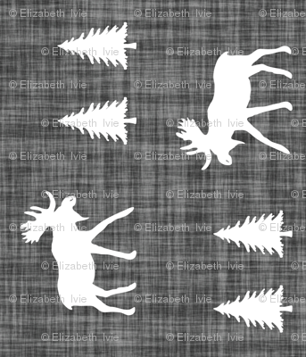 Moose Trot On Charcoal Linen // Vertical