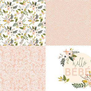 Fat Quarter Bundle // Blush Sprigs and Blooms, Hello Bébe, Lace 4, Scalloping Dots 1