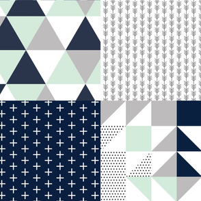 Fat Quarter Bundle // Navy Skinny Plus, Charcoal Arrow Stripes, Navy + Mint Triangle Wholecloth, Navy + Mint Puzzle Wholecloth