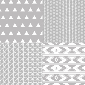 Fat Quarter Bundle // Gray Linen Double Chevron, Arrow Stripes, Triangles, Kilim