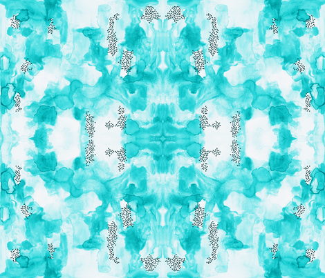 hand-painted watercolor abstract // aquamarine // small fabric by ivieclothco on Spoonflower - custom fabric