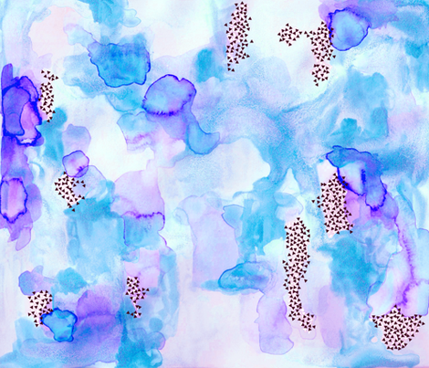 hand-painted watercolor abstract // blue + lavender fabric by ivieclothco on Spoonflower - custom fabric