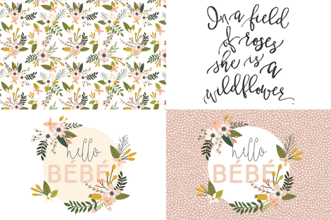 Fat Quarter Bundle // Blush Sprigs and Blooms, Wildflower, Hello Bébé fabric by ivieclothco on Spoonflower - custom fabric