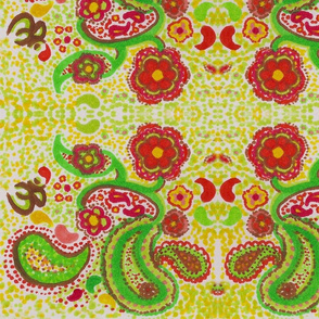 yellow paisley with dots and flowers
