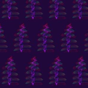 Funky Festive Trees Sparkle on Blackcurrant - Medium Scale