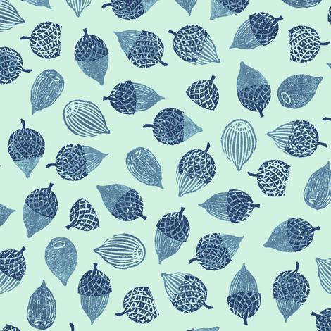 acorns large, navy and blue on mint fabric by weavingmajor on Spoonflower - custom fabric