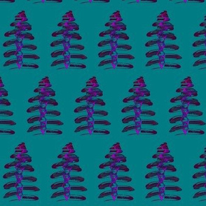 Funky Festive Trees on Teal - Small Scale