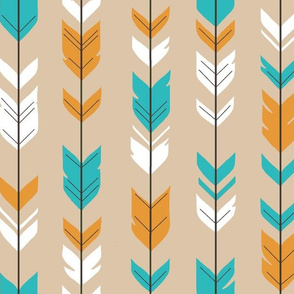 Arrow Feather - teal,orange,tan,white - Summer Woodland - baby boy Nursery