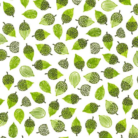 acorns and caps - hiking greens fabric by weavingmajor on Spoonflower - custom fabric