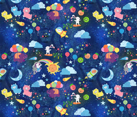 Cosmic kawaii fabric lyddiedoodles spoonflower for Cosmic print fabric