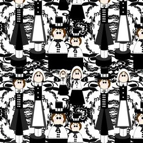 Pilgrims Black and White and Thanksgiving Victorian Flowers Fabric C