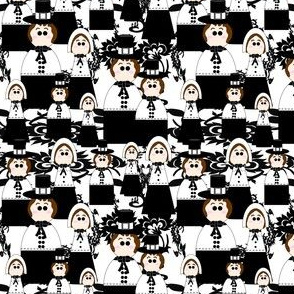 Pilgrims Black and White and Thanksgiving Victorian Flowers Fabric D