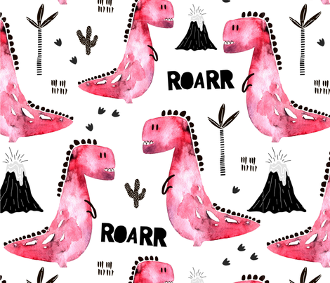 Dinosaurs for Girls fabric by floramoon on Spoonflower - custom fabric