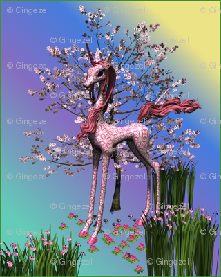 Pink Unicorn and Spring Flowers large