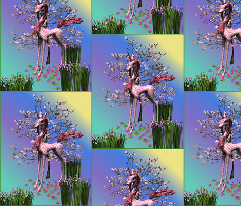 Pink Unicorn and Spring Flowers large fabric by gingezel on Spoonflower - custom fabric