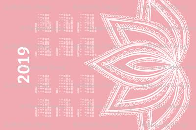 2019 Calendar, Monday / Lotus Pale Red