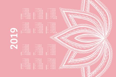 2019 Calendar, Monday / Lotus Pale Red fabric by marketa_stengl on Spoonflower - custom fabric