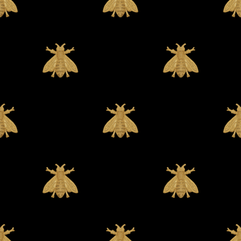 Napoleonic Bees ~ Faux Gilt on Blackest Black fabric by peacoquettedesigns on Spoonflower - custom fabric