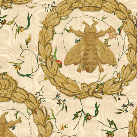 Napoleonic Bees ~ Queen Bee ~  Faux  Gilt on Cecile Embroidered Chintz ~ Gypsophila Moire  fabric by peacoquettedesigns on Spoonflower - custom fabric