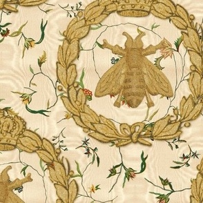 Napoleonic Bees ~ Queen Bee ~  Faux  Gilt on Cecile Embroidered Chintz ~ Gypsophila Moire