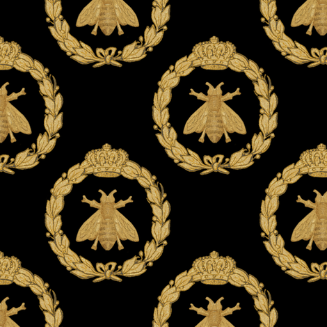 Napoleonic Bees ~ Queen Bee ~  Faux  Gilt on Blackest Black fabric by peacoquettedesigns on Spoonflower - custom fabric