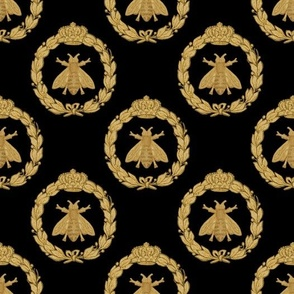 Napoleonic Bees ~ Queen Bee ~  Faux  Gilt on Blackest Black