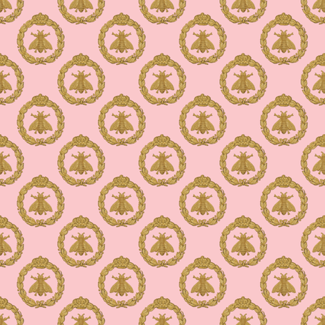 Napoleonic Bees ~ Queen Bee ~  Faux  Gilt on Dauphine fabric by peacoquettedesigns on Spoonflower - custom fabric
