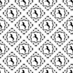 Unicorn Damask Black on White
