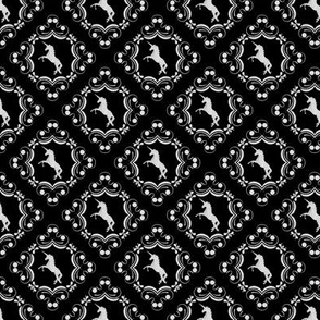 Unicorn Damask White on Black
