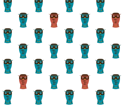 Funky Teal Owls fabric by tbdprints on Spoonflower - custom fabric