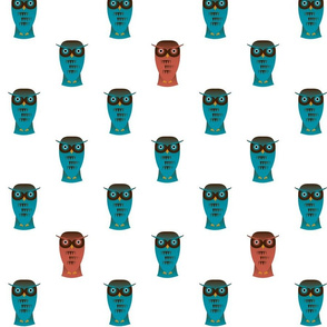 Funky Teal Owls