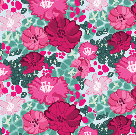 Floral cactus fabric by lburleighdesigns on Spoonflower - custom fabric