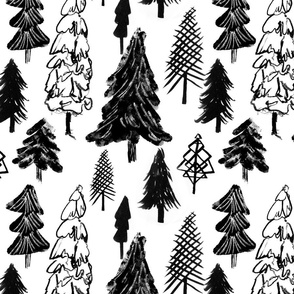 Christmas trees forest, black and white, winter woodland, baby
